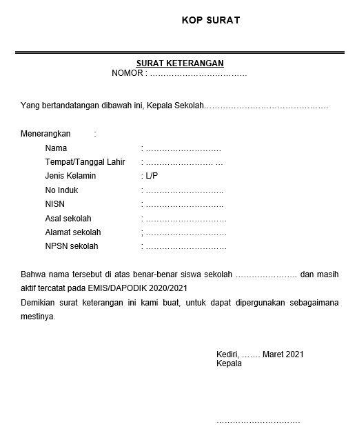 Surat Keterangan dari Sekolah Asal